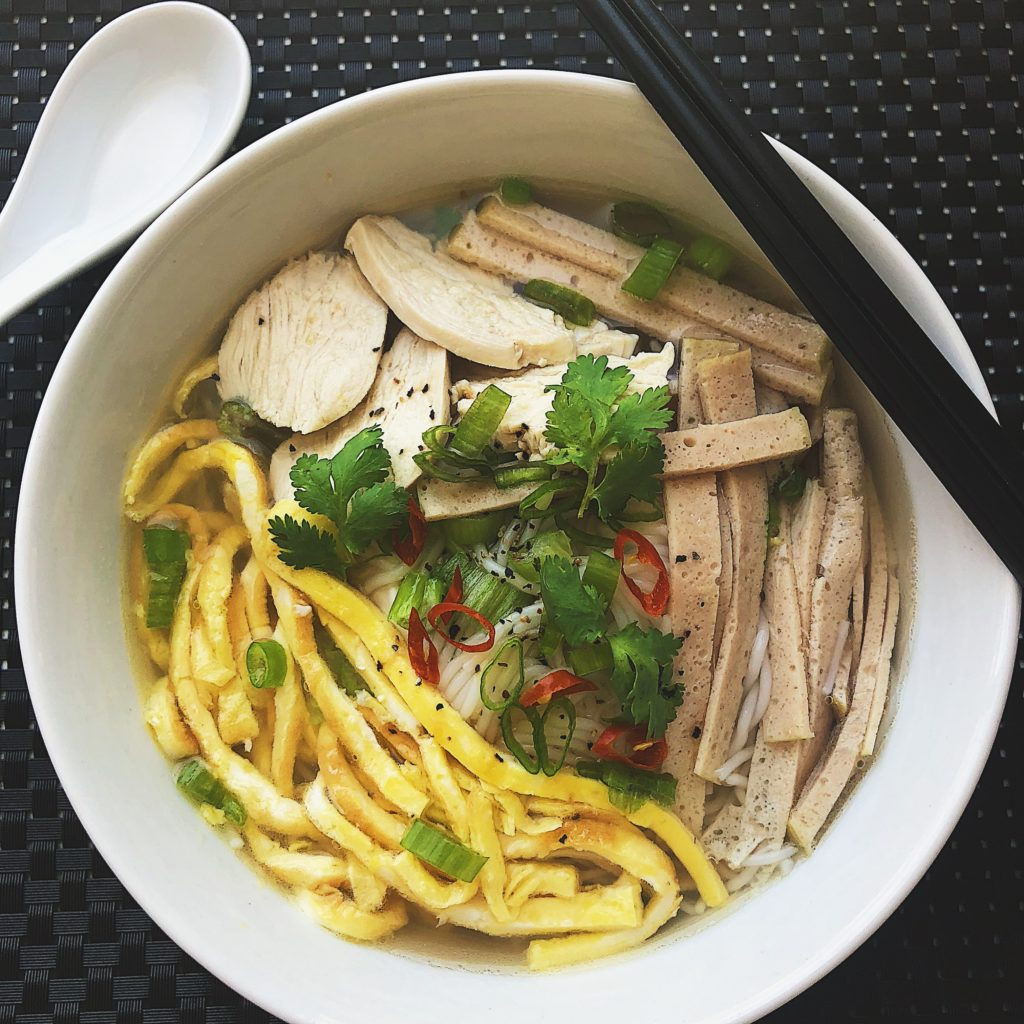 Hanoi Vermicelli Noodle Soup With Chicken, Pork, And Egg